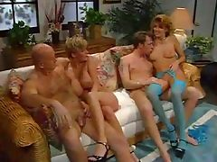 Hardcore group orgy with mature whores