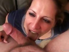 Marie Madison give blowjob in POV before getting cumshot on face