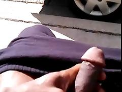 Black guy flashing his dick on the street