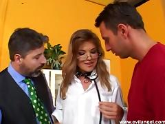 Gorgeous nurse with glasses enjoying an awesome threesome