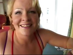 Mature pornstar gets cum on her big tits after getting slammed hardcore