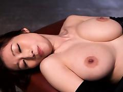 Japanese leather fetish babe doggystyle fucked
