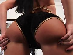 Delightful brunette babe with a nice ass enjoys riding a big cock until orgasm