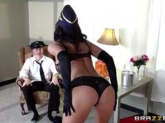 This hot flight attendant works her captains joystick