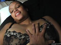 Ebony babe with big tits in bra masturbates nicely in solo model scene