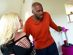 Blonde babe slobbers on BBC and rides that fat fuck meat