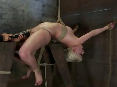 Bound with rope, this slave gets fingered vibrated