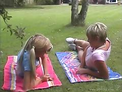 Pigtails Lesbian With Hot Ass Licking A Juicy Pussy Outdoor