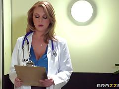 Doctor babe wears lingerie under her work clothes and loves to fuck