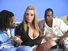 Milf slut takes on a couple of black cocks and milks them dry