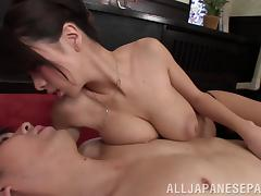 Busty Japanese hottie wants his sticky cum on her tits