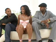 Suave ebony pornstar in sexy lingerie giving a steamy blowjob while getting hammered in MMF