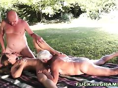 Dirty Girl Sucking Two 70plus cocks