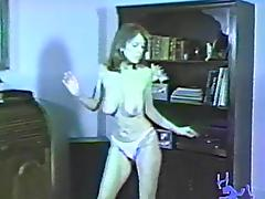 Vintage babe is inspired to dance with her natural tits out