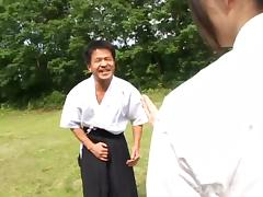A samurai fingers then fucks a Japanese girl's hairy snatch