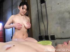 He wants so badly to suck on her big Japanese tits