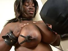 Interracial fetish with bondage and spanking for an ebony slut
