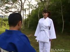 He gives her martial arts lesson then fucks her hairy pussy