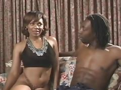 Busty ebony Janet Jacme gets her tits licked and her pussy fucked