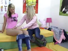 Two Naughty Blonde Sweethearts In A Hot Lesbian Fuck Action