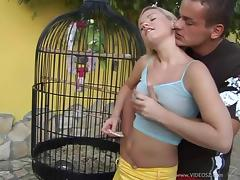 Blonde With Natural Tits Moaning While Being Screwed Outdoor