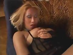 Blonde TS huge cumshot