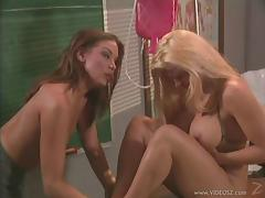 Sexy teachers Dru Berrymore and Friday go lesbian at their workplace