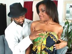 Doting ebony with hot ass and big tits having her shaved pussy throbbed doggystyle till he cums on her tits