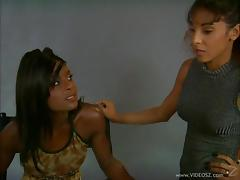 Lesbian ebony giving her partner superb rim job before drilling her hardcore with strapon in interracial sex