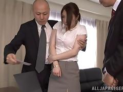He boss makes her give her give her co-worker a blowjob