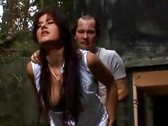 Hot babe anally slammed in forest
