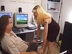 Seductive blonde babe getting her pussy fingered after giving a blowjob