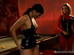 pool fucking of two muff divers in latex with candle was dripping