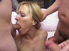 Charming cowgirl with big tits in nylon stockings giving superb blowjob till she swallows cum foursome sex