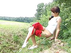 Photo shoot in the outdoors ends with hot lesbian fucking