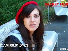 Senior citizen fucks a cute brunette girl in a plaid skirt