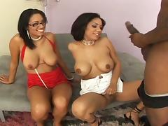 Ebony threesome cock sucking and black pussy fucking action