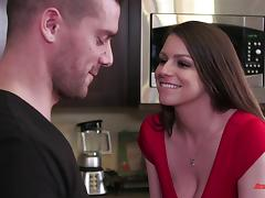 Busty pornstar Brooklyn Chase seduces him in a sexy red dress