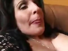 Horny big nippled mature masturbates with dildo
