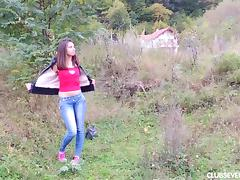 Long haired teen fingering her bald snatch outdoors