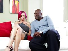 Tattooed vixens getting seduced in captivating interracial compilation
