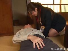 Kissing an old Japanese man while giving him a handjob