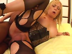 Delectable blonde shemale gets her tight anal jammed hardcore