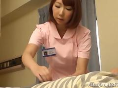 Patient gets a handjob from a Japanese nurse before he fucks her