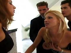 Sweet babes enjoy hardcore fucking and cock sucking in anal group sex