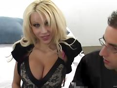 Very busty MILF Danielle Derek rides then sucks a younger guy's dick