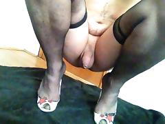 Italian Crossdresser On High Heels Masturbating