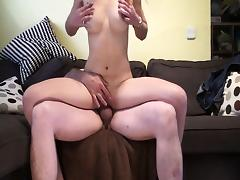 Girl with long legs sucks and gets fucked
