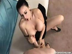 His Huge Cumload Paints On Her Big Boobies