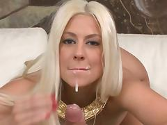 Gorgeous blonde babe sucks, fucks and gets jizzed.